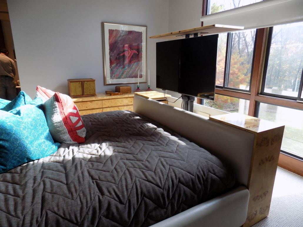 Custom bed with TV lift
